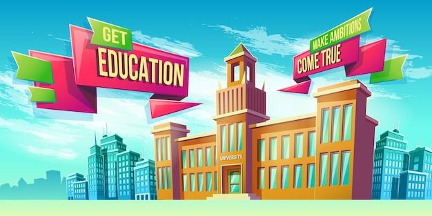 Eeducational achtergrond met universiteitsgebouw