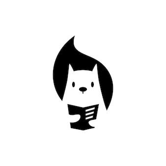 Eekhoorn boek lezen krant negatieve ruimte logo vector pictogram illustratie