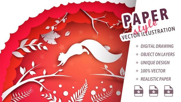 Eekhoorn die in papierstijl springt