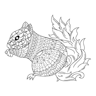 Eekhoorn getekende kleurplaat