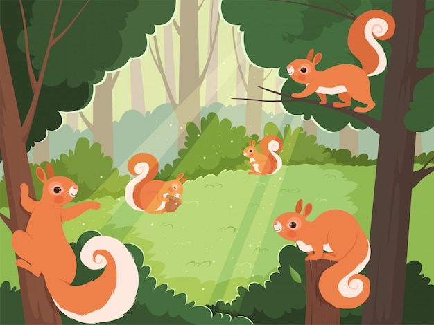 Eekhoorn in bos. wilde dieren spelen in bomen cartoon achtergrond