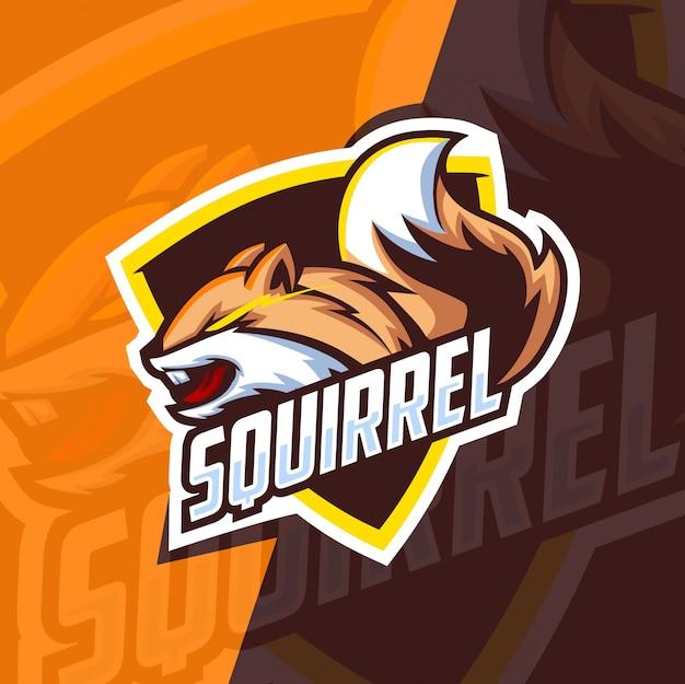 Eekhoorn mascotte esport logo ontwerp