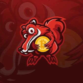 Eekhoorn met bitcoin mascotte logo ontwerp illustratie vector