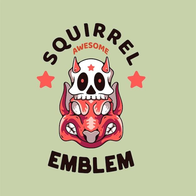 Eekhoorn met schedel illustratie retro-stijl voor t-shirtontwerp