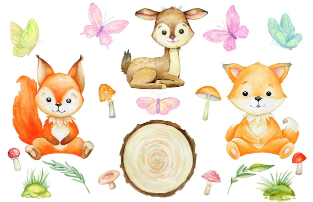 Eekhoorn, vos, hert, paddenstoel, vlinders. aquarel set, bosdieren, op een geïsoleerde achtergrond.