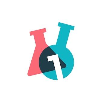 Een 1 nummer lab laboratorium glaswerk beker logo vector pictogram illustratie