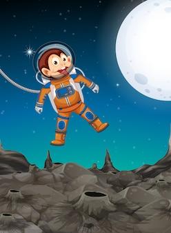 Een aap die de ruimte verkent