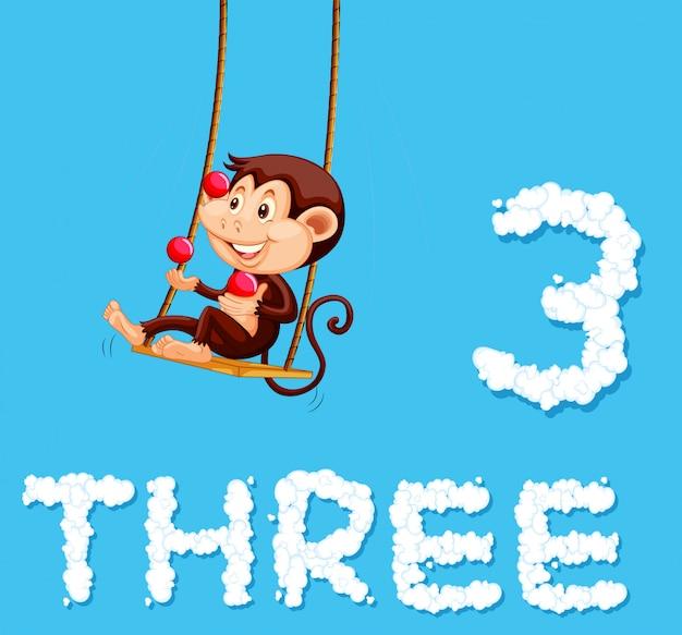 Een aap die met drie ballen jongleert