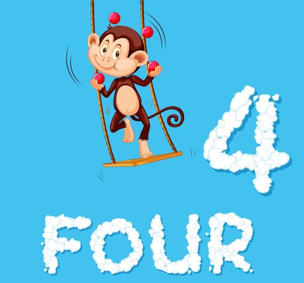 Een aap die vier ballen jongleert