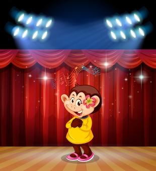 Een aap presteert op het podium