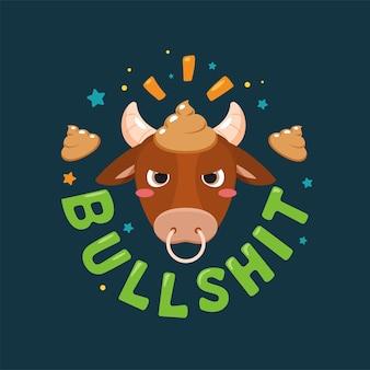 Een abstracte sticker van stront op het hoofd van een stier. geïsoleerd