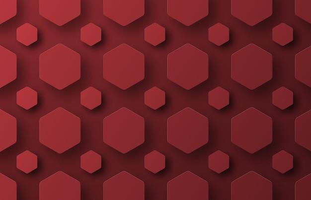 Een achtergrond met vliegende rode zeshoeken van verschillende grootte.