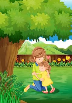 Een achtertuin met een moeder en een kind