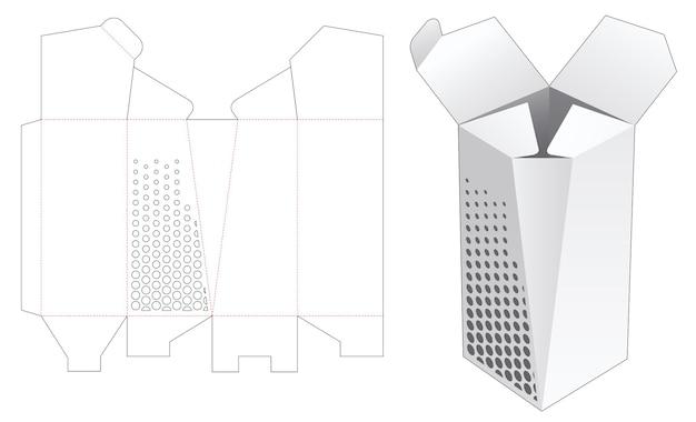 Een afgeschuinde hoge doos met gestencilde halftoonstippen gestanst sjabloon