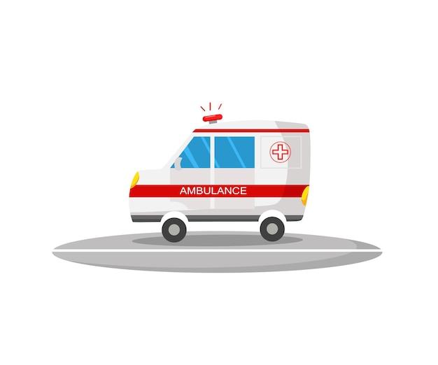 Een ambulancebusje. zijaanzicht. cartoon vectorillustratie.