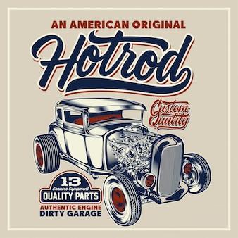 Een amerikaanse originele hotrod-poster