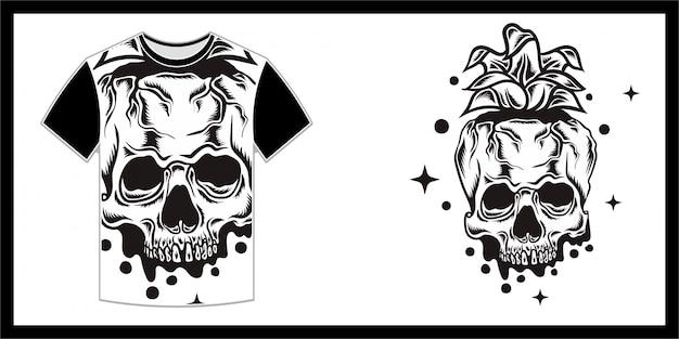Een ananasachtige schedel, t-shirtontwerp