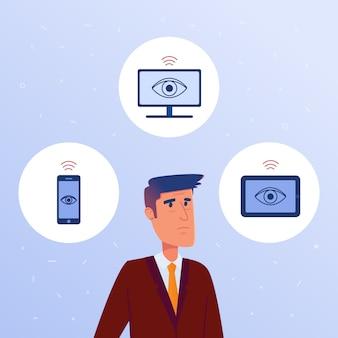 Een angstige man omringd door apparaten met zijn persoonlijke gegevens.