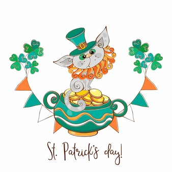 Een ansichtkaart met een kat en munten voor st. patrick's day.