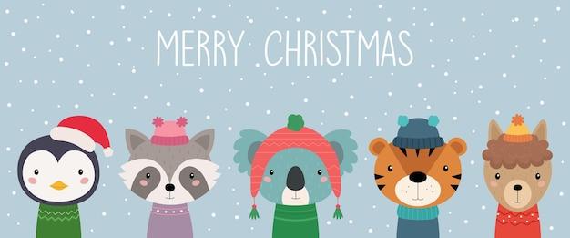 Een ansichtkaart met kerstdieren schattige dieren in gebreide mutsen en sjaals