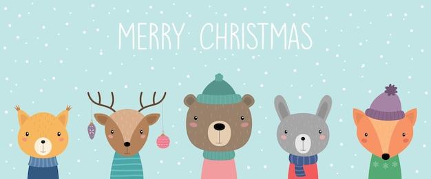Een ansichtkaart met schattige kerstdieren