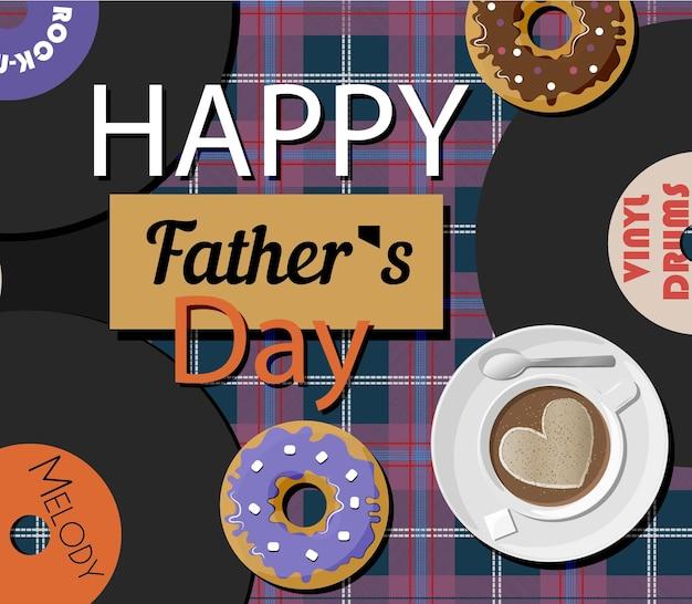 Een ansichtkaart met vinylplaten en donuts voor vaderdag