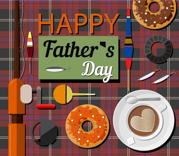 Een ansichtkaart met vistuig donuts en een hengel voor vaderdag