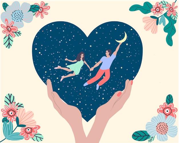 Een ansichtkaart voor valentijnsdag. een meisje en een jongen houden elkaars hand vast terwijl ze in de lucht vliegen