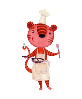 Een aquarelfoto van een tijger in een kokskostuum die roerei aan het bereiden is Premium Vector