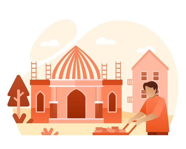 Een arbeider bouwt een moskee illustratie