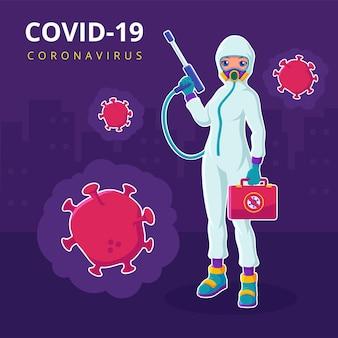 Een arts die hazmat-kostuum draagt, vecht coronavirus-illustratie
