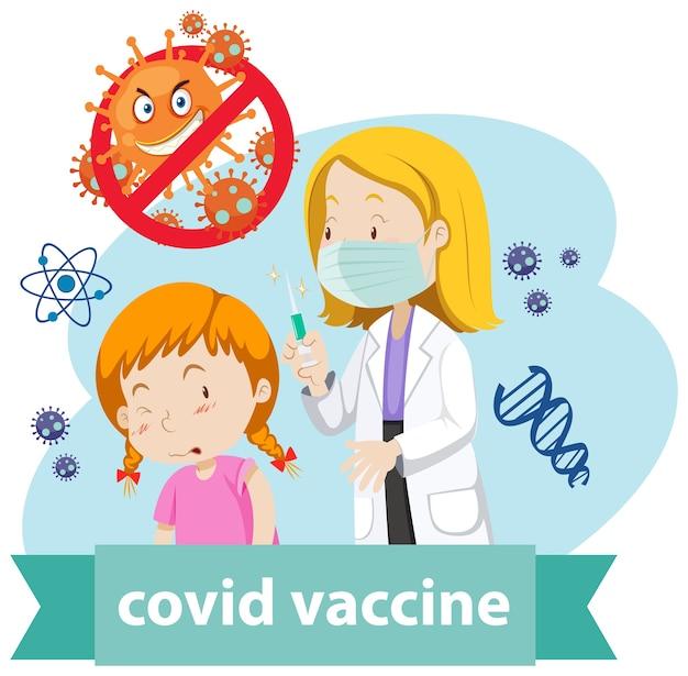 Een arts draagt een masker en houdt een medische spuit met naald vast voor covid-19 of coronavirus en een meisjeslogo of banner