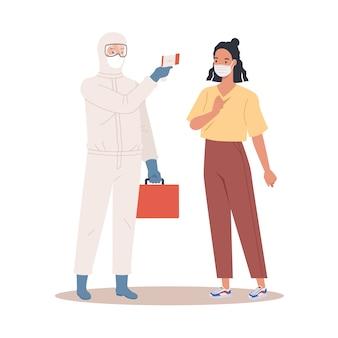 Een arts in beschermend pak meet de temperatuur van een vrouw in een medisch masker. coronavirus beveiligingsconcept. illustratie in een vlakke stijl