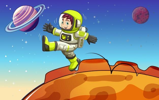 Een astronaut in de buitenruimte
