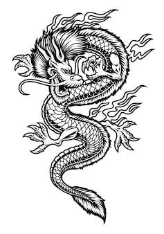 Een aziatische draakillustratie die op witte achtergrond wordt geïsoleerd.