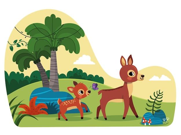 Een baby en een moederhert op een wandeling in de natuur vectorillustratie