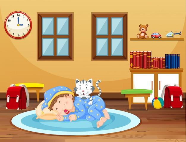 Een baby slaap tijd thuis
