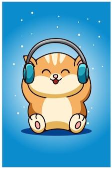 Een babykat die de tekening van de oortelefoonhand draagt