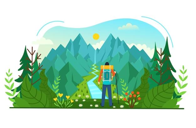 Een backpacker staat op de top van een berg en geniet van uitzicht op de rivier. vector illustratie.