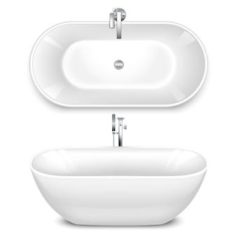 Een badkuip in de vorm van een schaal. boven- en zijaanzicht.