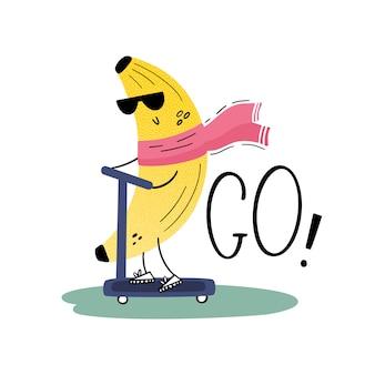 Een banaan met zonnebril op een scooter. traveler. vrolijk fruit op vakantie. vector illustratie in vlakke stijl, hand getrokken