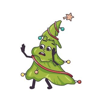 Een bange kerstboom in paniek grijpt zijn gezicht en loopt feestelijke decoratie voor nieuwjaar en hol...