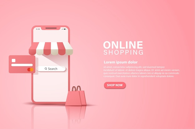 Een banner van gemak van winkelen in een online winkel, altijd en overal