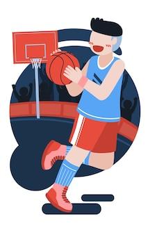 Een basketbalspeler houdt een bal met beide handen vast en rent ermee.