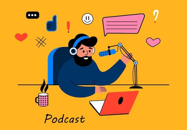 Een bebaarde man leidt een live podcast-uitzending van een platte vectorillustratie