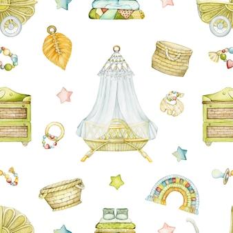 Een bed, een kinderwagen, een ladekast, interieurartikelen en speelgoed in boho-stijl. aquarel naadloze patroon, op een geïsoleerde achtergrond.