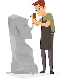 Een beeldhouwer in een beitelwedstrijd van wereldklasse