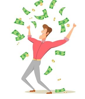 Een beeldverhaalmens die zich onder de bankbiljetten en het muntstuk van de geldregen bevindt