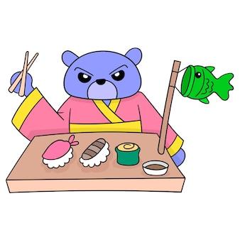 Een beer die een kimonokleding draagt die een japans menu eet, vectorillustratieart. doodle pictogram afbeelding kawaii.