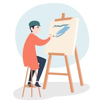 Een bekwame schilder schildert op een doek op een plaatselijke tentoonstelling